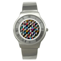 Abstract Multicolor Cubes 3d Quilt Fabric Stainless Steel Watch