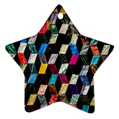 Abstract Multicolor Cubes 3d Quilt Fabric Star Ornament (Two Sides)