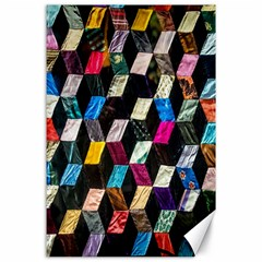 Abstract Multicolor Cubes 3d Quilt Fabric Canvas 24  X 36