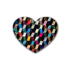 Abstract Multicolor Cubes 3d Quilt Fabric Rubber Coaster (heart)