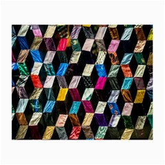 Abstract Multicolor Cubes 3d Quilt Fabric Small Glasses Cloth (2 Side)