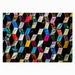 Abstract Multicolor Cubes 3d Quilt Fabric Large Glasses Cloth