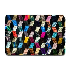 Abstract Multicolor Cubes 3d Quilt Fabric Plate Mats