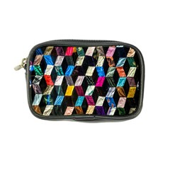 Abstract Multicolor Cubes 3d Quilt Fabric Coin Purse