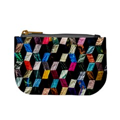 Abstract Multicolor Cubes 3d Quilt Fabric Mini Coin Purses