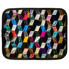Abstract Multicolor Cubes 3d Quilt Fabric Netbook Case (XXL)