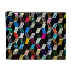 Abstract Multicolor Cubes 3d Quilt Fabric Cosmetic Bag (XL)
