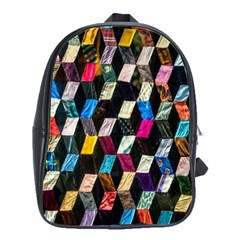 Abstract Multicolor Cubes 3d Quilt Fabric School Bags(large)