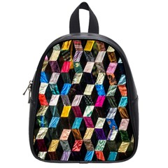 Abstract Multicolor Cubes 3d Quilt Fabric School Bags (Small)