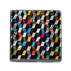 Abstract Multicolor Cubes 3d Quilt Fabric Memory Card Reader (square)