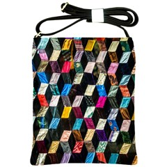 Abstract Multicolor Cubes 3d Quilt Fabric Shoulder Sling Bags