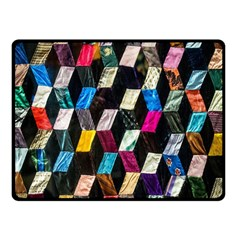 Abstract Multicolor Cubes 3d Quilt Fabric Fleece Blanket (small)