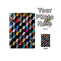 Abstract Multicolor Cubes 3d Quilt Fabric Playing Cards 54 (Mini)