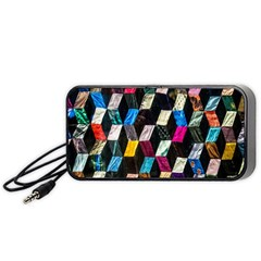 Abstract Multicolor Cubes 3d Quilt Fabric Portable Speaker (Black)