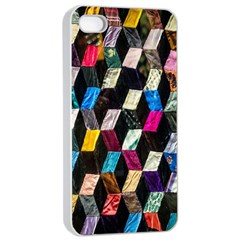Abstract Multicolor Cubes 3d Quilt Fabric Apple iPhone 4/4s Seamless Case (White)