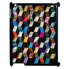Abstract Multicolor Cubes 3d Quilt Fabric Apple Ipad 2 Case (black)
