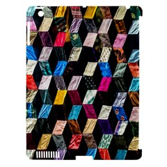 Abstract Multicolor Cubes 3d Quilt Fabric Apple iPad 3/4 Hardshell Case (Compatible with Smart Cover)