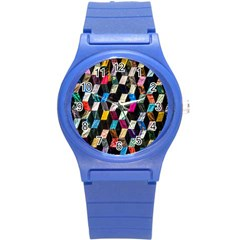 Abstract Multicolor Cubes 3d Quilt Fabric Round Plastic Sport Watch (S)