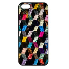 Abstract Multicolor Cubes 3d Quilt Fabric Apple iPhone 5 Seamless Case (Black)