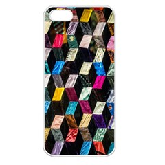 Abstract Multicolor Cubes 3d Quilt Fabric Apple iPhone 5 Seamless Case (White)