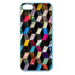 Abstract Multicolor Cubes 3d Quilt Fabric Apple Seamless iPhone 5 Case (Color)