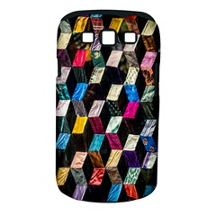 Abstract Multicolor Cubes 3d Quilt Fabric Samsung Galaxy S Iii Classic Hardshell Case (pc+silicone)
