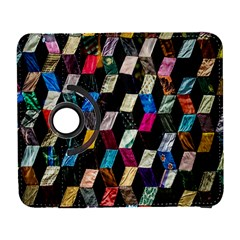 Abstract Multicolor Cubes 3d Quilt Fabric Galaxy S3 (Flip/Folio)