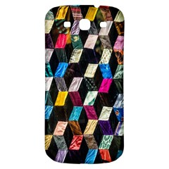 Abstract Multicolor Cubes 3d Quilt Fabric Samsung Galaxy S3 S III Classic Hardshell Back Case