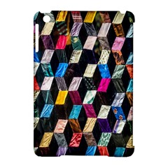 Abstract Multicolor Cubes 3d Quilt Fabric Apple Ipad Mini Hardshell Case (compatible With Smart Cover)