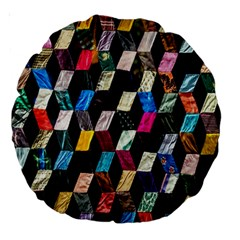 Abstract Multicolor Cubes 3d Quilt Fabric Large 18  Premium Round Cushions