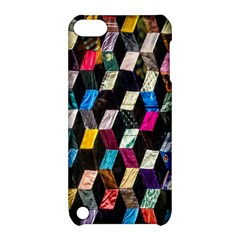Abstract Multicolor Cubes 3d Quilt Fabric Apple Ipod Touch 5 Hardshell Case With Stand