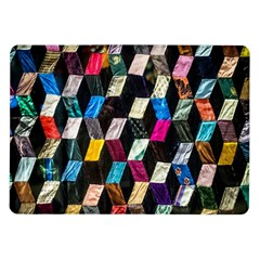 Abstract Multicolor Cubes 3d Quilt Fabric Samsung Galaxy Tab 10.1  P7500 Flip Case