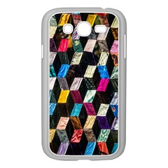Abstract Multicolor Cubes 3d Quilt Fabric Samsung Galaxy Grand DUOS I9082 Case (White)