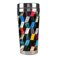 Abstract Multicolor Cubes 3d Quilt Fabric Stainless Steel Travel Tumblers