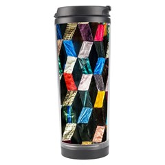 Abstract Multicolor Cubes 3d Quilt Fabric Travel Tumbler