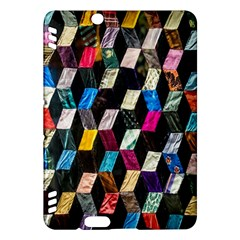 Abstract Multicolor Cubes 3d Quilt Fabric Kindle Fire HDX Hardshell Case