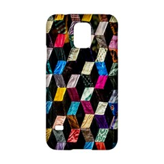 Abstract Multicolor Cubes 3d Quilt Fabric Samsung Galaxy S5 Hardshell Case