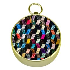Abstract Multicolor Cubes 3d Quilt Fabric Gold Compasses