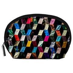 Abstract Multicolor Cubes 3d Quilt Fabric Accessory Pouches (Large)