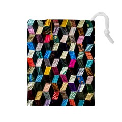 Abstract Multicolor Cubes 3d Quilt Fabric Drawstring Pouches (Large)