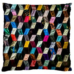 Abstract Multicolor Cubes 3d Quilt Fabric Standard Flano Cushion Case (Two Sides)