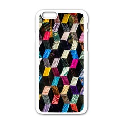 Abstract Multicolor Cubes 3d Quilt Fabric Apple Iphone 6/6s White Enamel Case
