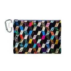 Abstract Multicolor Cubes 3d Quilt Fabric Canvas Cosmetic Bag (M)