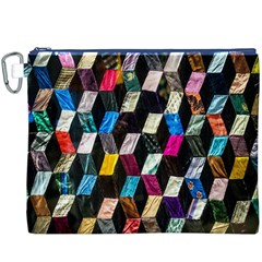 Abstract Multicolor Cubes 3d Quilt Fabric Canvas Cosmetic Bag (XXXL)