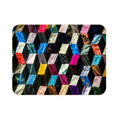 Abstract Multicolor Cubes 3d Quilt Fabric Double Sided Flano Blanket (Mini)