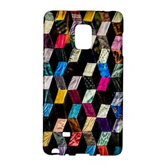 Abstract Multicolor Cubes 3d Quilt Fabric Galaxy Note Edge