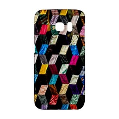 Abstract Multicolor Cubes 3d Quilt Fabric Galaxy S6 Edge