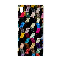 Abstract Multicolor Cubes 3d Quilt Fabric Sony Xperia Z3+