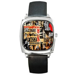 Guitar Typography Square Metal Watch