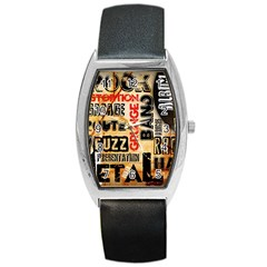 Guitar Typography Barrel Style Metal Watch